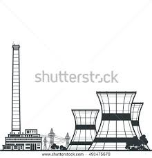 silhouette nuclear power plant silhouette thermal stock vector