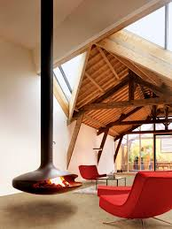 modern hanging fireplaces mid century patio fireplace
