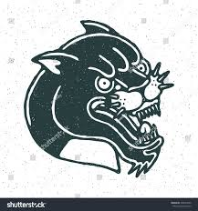 angry black panther head traditional tattoo stock vector 398534590