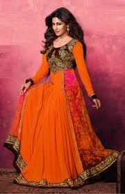 anarkali designer suits online shopping india orange long