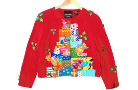 michael simon elves pile of gifts tacky sweater