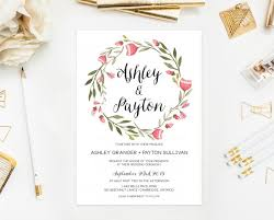 printable wedding invitation pink floral invitation shabby