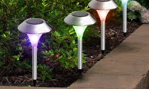62 off on solar garden path lights groupon goods