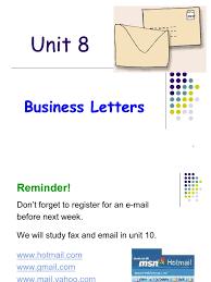 Business Letter Salutation Australia Unit 8 Business Letters 1 Paragraph Written Communication