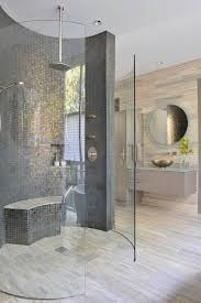 Bathroom D by Round Doorless Showers Mosaic Tiles Glass Wall Modern Bathroom