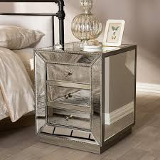 3 Drawer Nightstands Amazon Com Baxton Studio Currin Contemporary Mirrored 3 Drawer