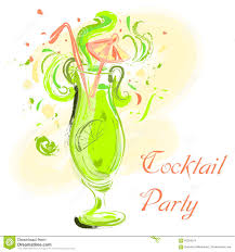 vintage cocktail party cocktail with lime and umbrella vintage hand drawn vector