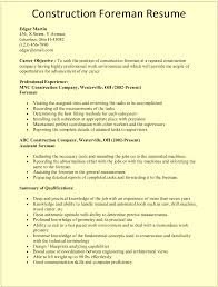 Example Of Construction Resume Construction Foreman Resume Template For Microsoft Word