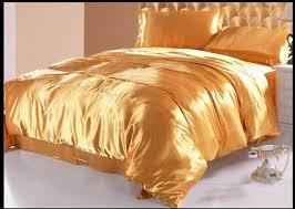 gold silk bedding set satin duvet cover california king queen full