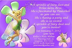 Unique Birthday Invitation Cards Tinkerbell Birthday Invitations Kawaiitheo Com