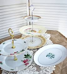 vintage china tiered serving plates unique and chic event