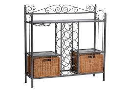 Bakers Racks Bakers Racks With Wine Storage With 2 Rattan Baskets Home