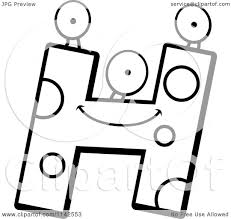 cartoon clipart of a black and white alien letter h vector