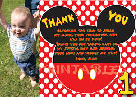 Mickey Mouse Invitation Card Mickey Mouse Polka Dot Thank You Card Custom Digital File