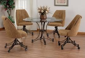 dinette table and chairs with casters casual swivel caster glass top dinette set dinetteonline com