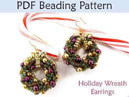 christmas earrings beading tutorial double spiral stitch