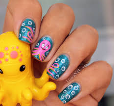 cartoon pink nail art octopus by lizananails tropical ocean