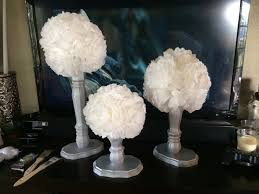 table leg coffee filter topiaries wedding decorations on a