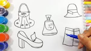 coloring pages girls dress shoes perfume bag and hat drawing