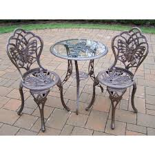 Bistro Sets Outdoor Patio Furniture Oakland Living Butterfly 3 Patio Bistro Set In Antique