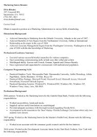 objective for an internship resume resume sample for college