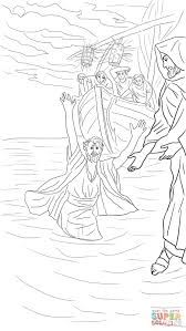 peter walks on the water coloring page free printable coloring pages