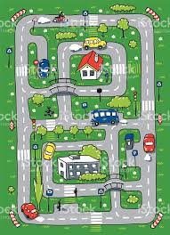 little kids play rug with cartoon cars and roads stock vector art