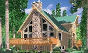front view house plans rear view and panoramic view house plans 3683 a frame house plans vacation house plans masonry fireplace wall of