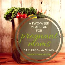 an easy two week meal plan for pregnant mom keeper home