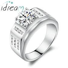 mens engagement ring cubic zirconia diamond men s engagement ring polished sterling
