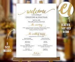 wedding program sign golden wedding program sign template faux gold wedding