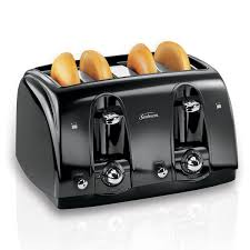 Toaster Glass Sides Sunbeam 4 Slice Extra Wide Slot Toaster Black