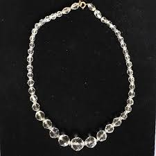 round crystal necklace images Vintage checkerboard cut round crystal graduated bead necklace jpg