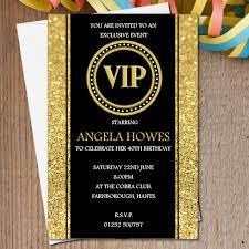 Personalised Birthday Invitation Cards 10 Personalised Black U0026 Gold Vip Birthday Party Invitations N190