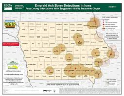 state of iowa map emerald ash borer information