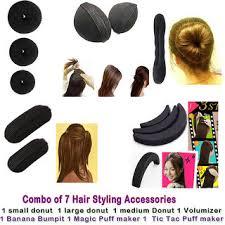 hair puff combo of 7 hair accessories 3 donuts 1 magic puff 1 volumizer