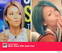 kelly ripper hair style now kelly ripa goes from blue to opal see her latest hair hue