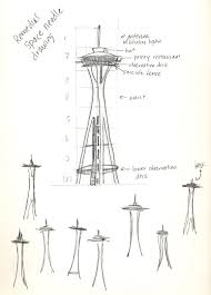 space needle drawing sketch coloring page