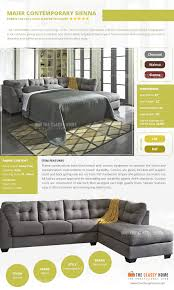 Sofa Sleeper Full by Maier Contemporary Charcoal Fabric Laf Full Sofa Sleeper W Chaise