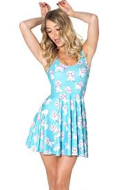 light blue cat printed sleeveless a line dress casual dresses