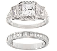 bridal ring set diamonique 2 00 cttw bridal ring set sterling page 1 qvc