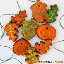 pretty pumpkin and leaf cinnamon ornaments for fall
