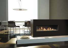 touch your interior with different style of 3 sided fireplace idea