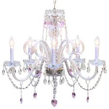 chandelier with pink crystal hearts traditional kids ceiling