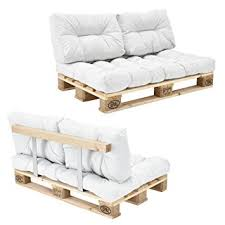 canap en palette avec dossier en casa canapé de palettes 2 siège avec coussins blanc kit