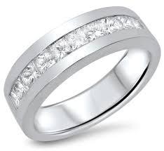 mens 14k white gold wedding bands mens 1 10ct princess cut diamond wedding band ring 14k white gold