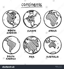sketch drawing continents planet continent europe stock vector