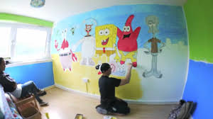 bedroom cartoon wall painting pictures grey teenage bedroom