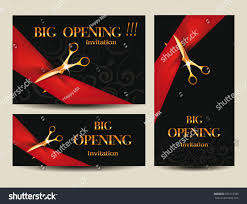 Opening Ceremony Invitation Card Design Set Big Opening Invitation Cards Red Stock Vector 239113783
