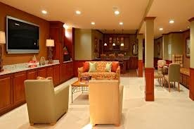 contemporary basement with terracotta tile floors u0026 wainscoting